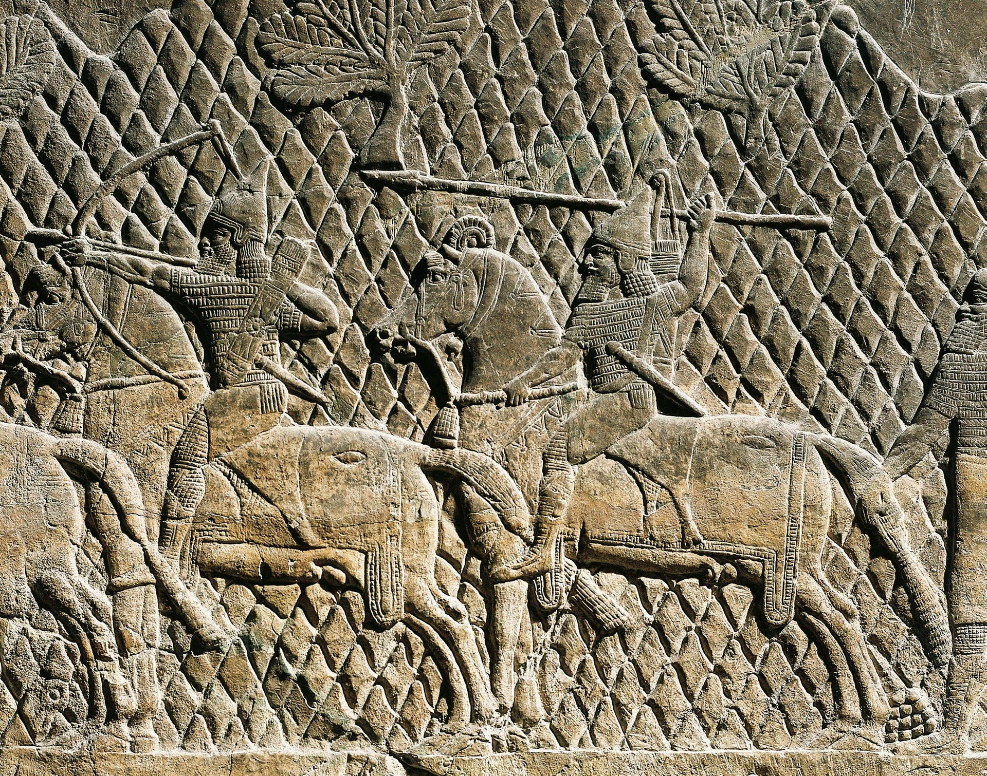 Assyrian relief depicting warriors on horses, 8th century B.C.E. From Ashurbanipal's palace at Nineveh