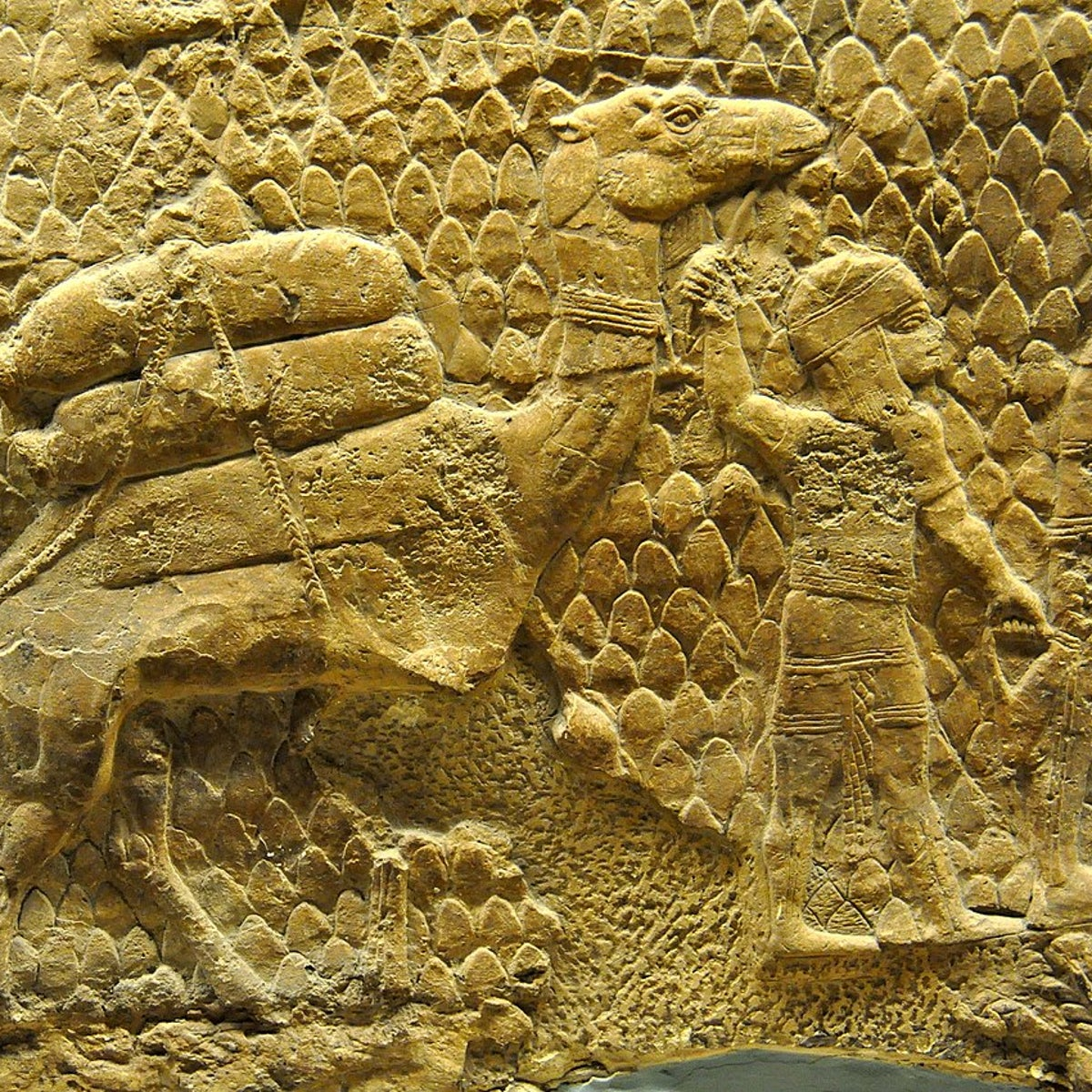 Detail of a gypsum wall relief depicting the deportation of the inhabitants of the city of Lachish by the Assyrian army. Reign of Sennacherib, 700-692 BC, from Nineveh, Iraq, currently housed in the British Museum