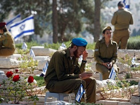 Soldiers at Mt.Herzl military cemetery on Memorial Day