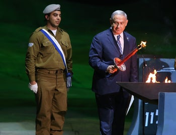Prime Minister Benjamin Netanyahu at Israel's official Independence Day ceremony