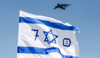 A US-made Israeli air force C-17 Globemaster III transport aircraft flies during the 70th Independence Day celebrations on April 19, 2018