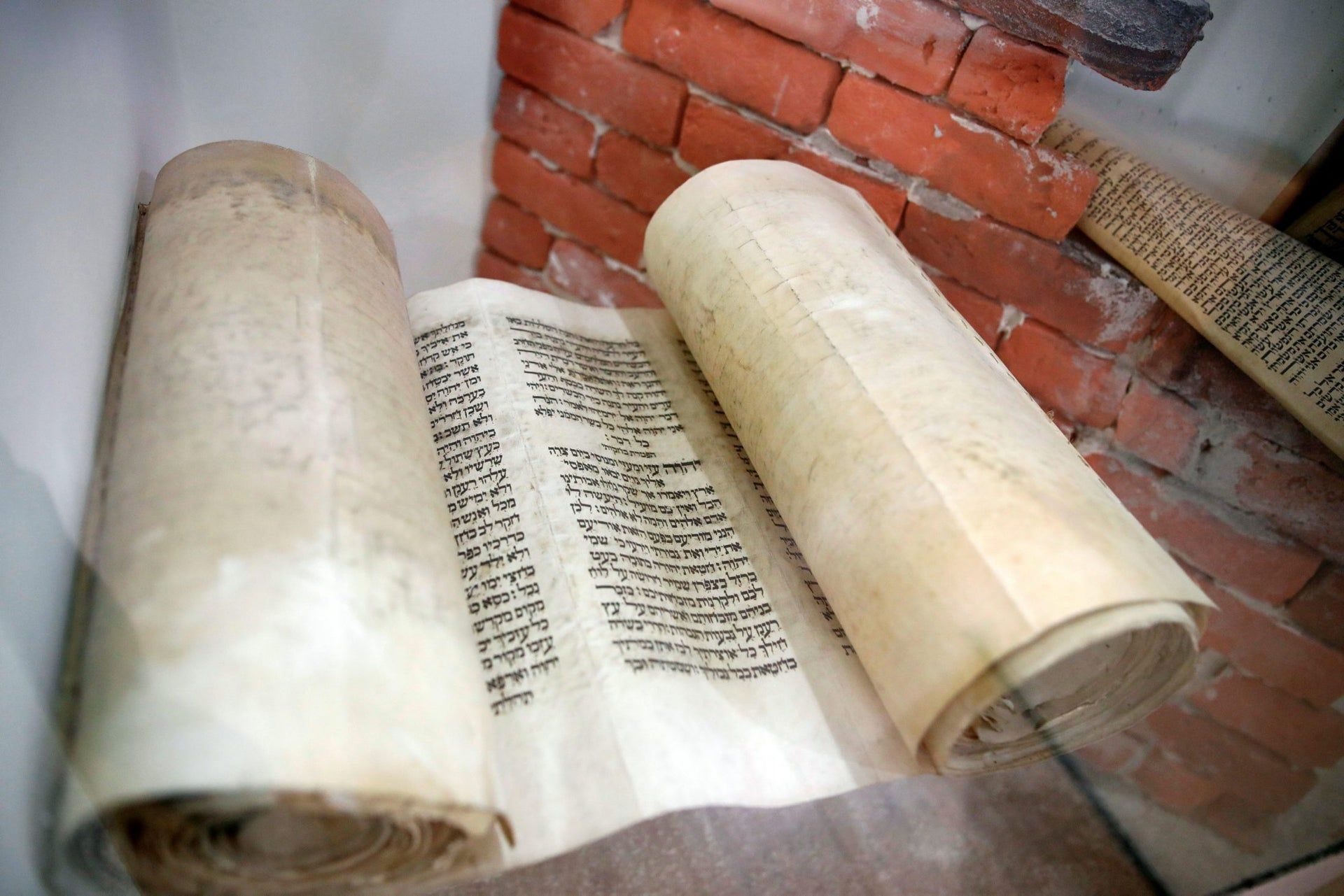 A Torah scroll is seen on display at the Babylonian Jewry Heritage Center in Or Yehuda, Israel, April 16, 2018. Picture taken April 16, 2018.