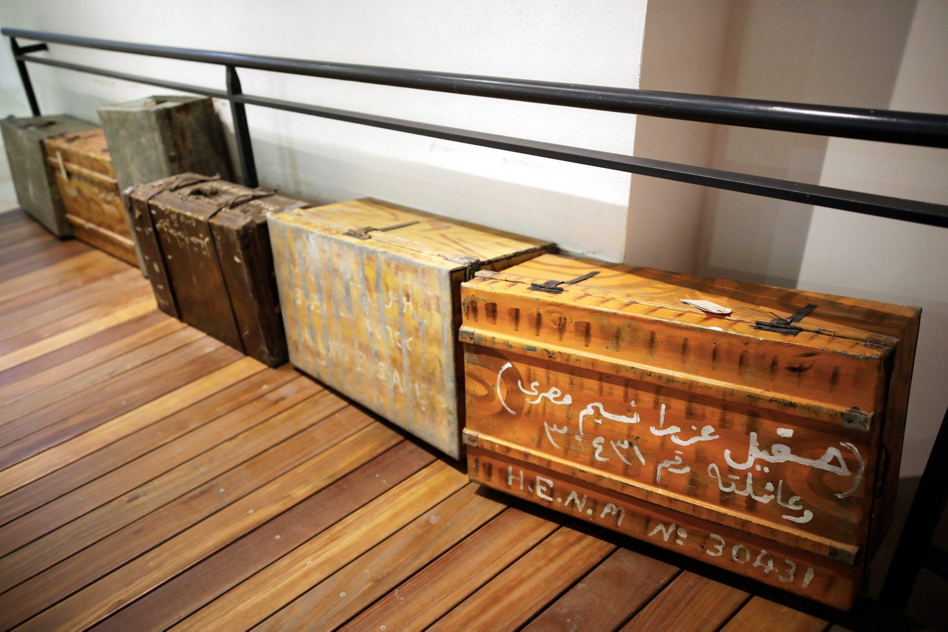Original suitcases used by Jews who immigrated from Iraq to Israel are seen on display at the Babylonian Jewry Heritage Center in Or Yehuda, Israel, April 16, 2018.