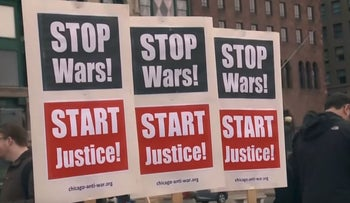 It's illegal, it's a war crime: Chicago protesters against U.S.'s strikes in Syria