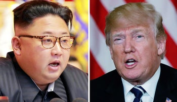 A combination photo showing North Korean leader Kim Jong Un, left, in Pyongyang, North Korea, and U.S. President Donald Trump in Palm Beach, Florida.