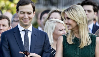 Ivanka Trump and Jared Kushner stand in the South Lawn of the White House in Washington, September 11, 2017.