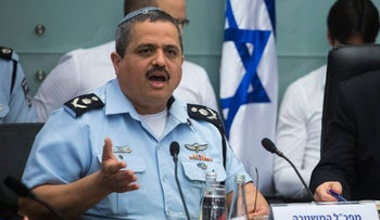 Police chief Roni Alsheich at a Knesset discussion on the probes against Prime Minister Benjamin Netanyahu.