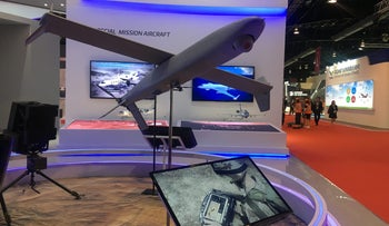 A drone model on display at a booth of the Israeli drone maker Aeronautics Group at the Singapore Airshow.