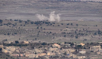 An IDF attack on the Golan Heights in Syria in February 2018.