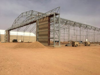 A hangar being built at the Niger Air Base 201 as part of the U.S. Air Force new facilities for armed drones in Agadez, Niger, April 15, 2018