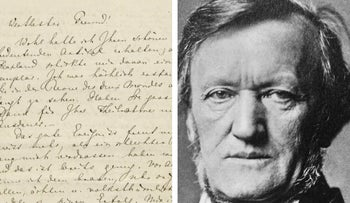 From left: the letter to be auctioned, and the composer Richard Wagner.