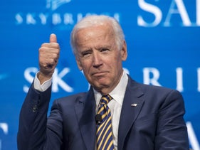 FILE PHOTO: Former U.S. Vice President Joe Biden speaks at a conference in Las Vegas, May 18, 2017.