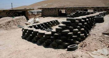 The so-called Tire School in the Bedouin locale of Khan al-Ahmar, in 2016. It was built with funding from an Italian NGO.