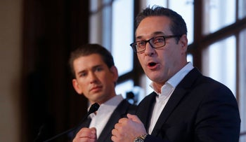 Chancellor Sebastian Kurz and far-right Freedom Party head Heinz-Christian Strache aafter their first round of coalition talks in Vienna, Austria. October 25, 2017.