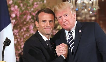 U.S. President Donald Trump and French President Emmanuel Macron hold a joint press conference at the White House in Washington, DC, on April 24, 2018