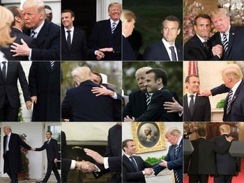 French President Emmanuel Macron and US President Donald Trump attitudes during a state visit in Washington, DC, on April 23 and 24, 2018.
