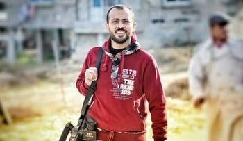 Gazan photojournalist Ahmed Abu Hassin who was shot by the Israeli military while documenting a protest on the Gaza border.