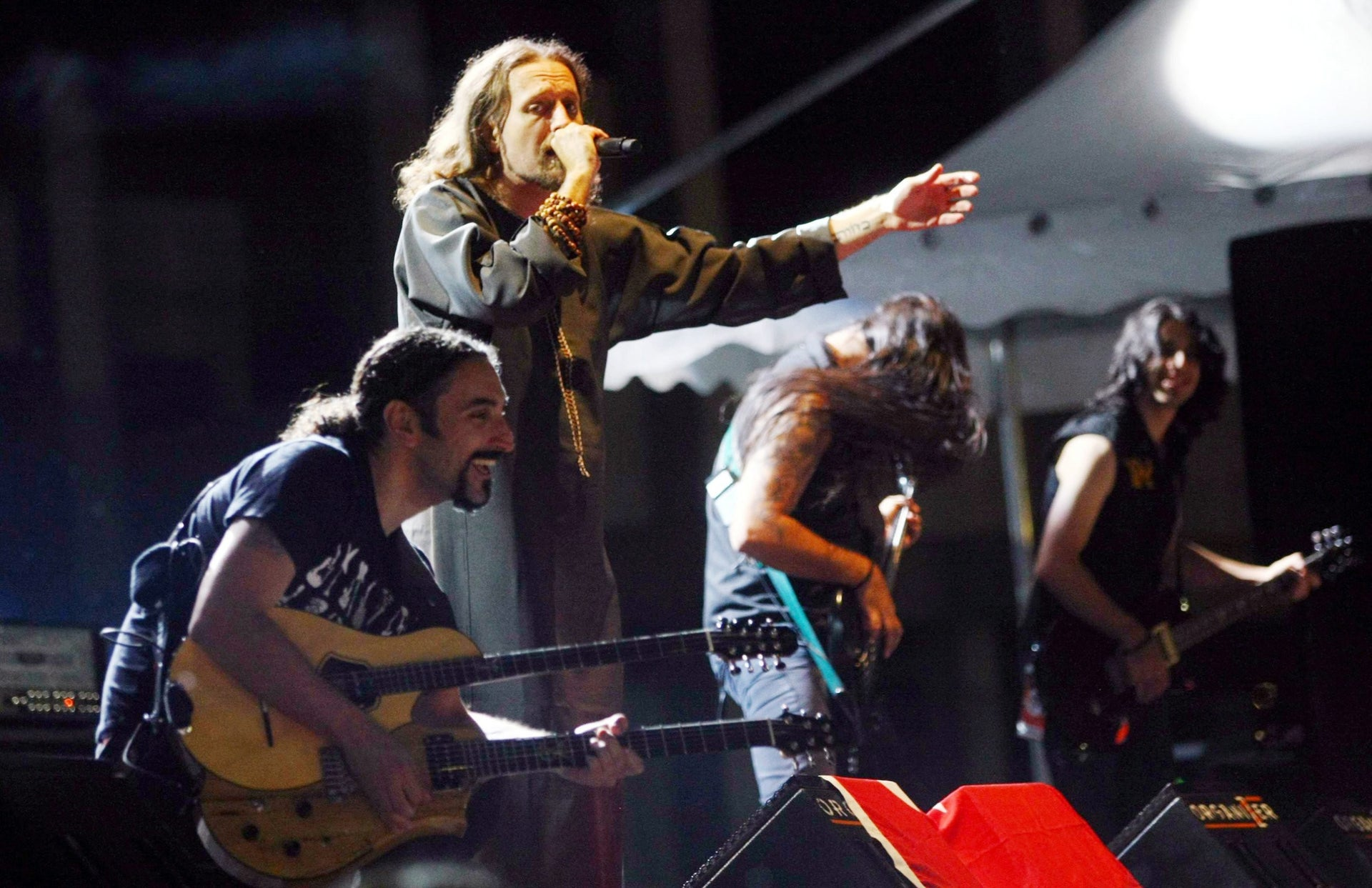 Kobi Farhi, second from left,  lead singer of the Israeli heavy metal band Orphaned Land performing at a music festival in Ankara in  2012.