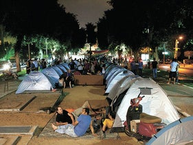 Rows of tents on Tel Aviv's Rothschild Boulevard as part of the social protest of the summer of 2011.