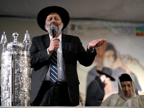 Israeli Interior Minister Aryeh Deri speaks during an annual pilgrimage to the gravesite of Rabbi Yisrael Abuhatzeira, a Moroccan-born sage and Kabbalist, in Netivot, Israel, January 18, 2018
