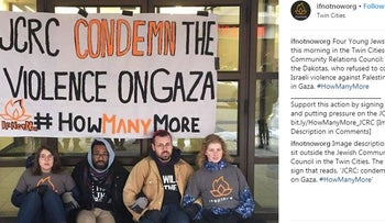 Protest by IfnotNow at the Jewish Community Relations Council in the Twin Cities. April 10, 2018