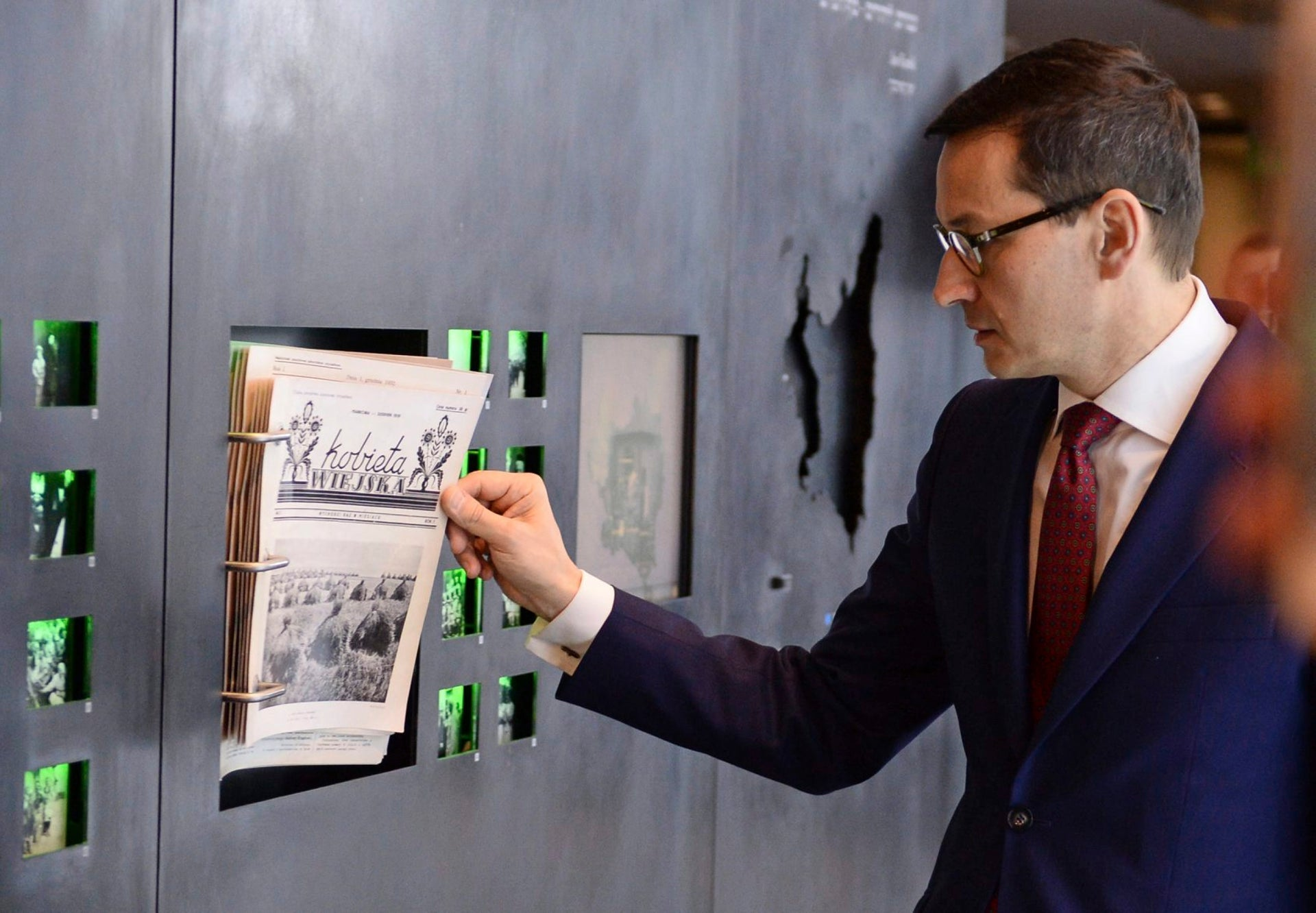 Polish Prime Minister Mateusz Morawiecki visiting the Ulma Family Museum of Poles Who Saved Jews during WWII, in Markowa, Poland, February 2, 2018.