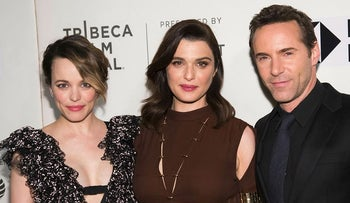 """Rachel McAdams, from left, Rachel Weisz and Alessandro Nivola attend a screening of """"Disobedience"""" at the BMCC Tribeca PAC during the 2018 Tribeca Film Festival on Tuesday, April 24, 2018, in New York"""