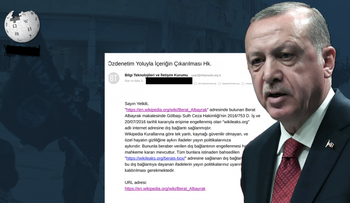 Turkish President Recep Tayyip Erdogan, the Wikipedia logo and the email leaked to SoL asking Wikipedia to remove the page and links about Berat Albayrak.