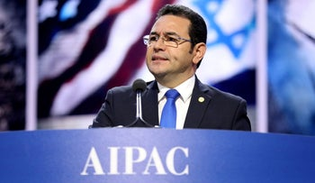 Guatemalan President Jimmy Morales speaks to the American Israel Public Affairs Committee AIPAC Policy Conference in Washington, DC, U.S.