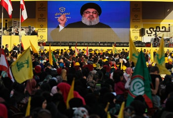 Hezbollah's Hassan Nasrallah delivers a speech in Beirut, April 13, 2018.