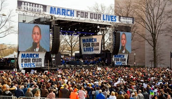 "In this March 24, 2018, file photo, Cuban-American and Parkland activist Emma Gonzalez, a survivor of the mass shooting at Marjory Stoneman Douglas High School in Parkland, Fla., addresses the ""March for Our Lives"" rally in support of gun control in Washington."