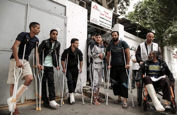Palestinians wounded during the Gaza fence protests await further medical treatment, Gaza City,  April 25, 2018.