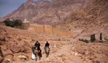 Visitors leave Saint Catherine's Monastery, where ISIS militants carried out an attack in April, 2017, Sinai, Egypt.