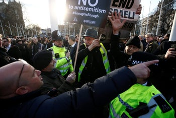 Using the pro-Palestinian cause to deny anti-Semitism: Protesters clash at a demonstration, organised by the UK Jewish community to confront Labour Party anti-Semitism. Parliament Square, London, March 26, 2018