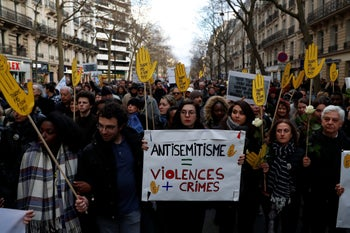 March in memory of Mireille Knoll, an 85-year-old Holocaust survivor who was stabbed to death and her body burnt in an anti-Semitic attack. Paris, France, March 28, 2018