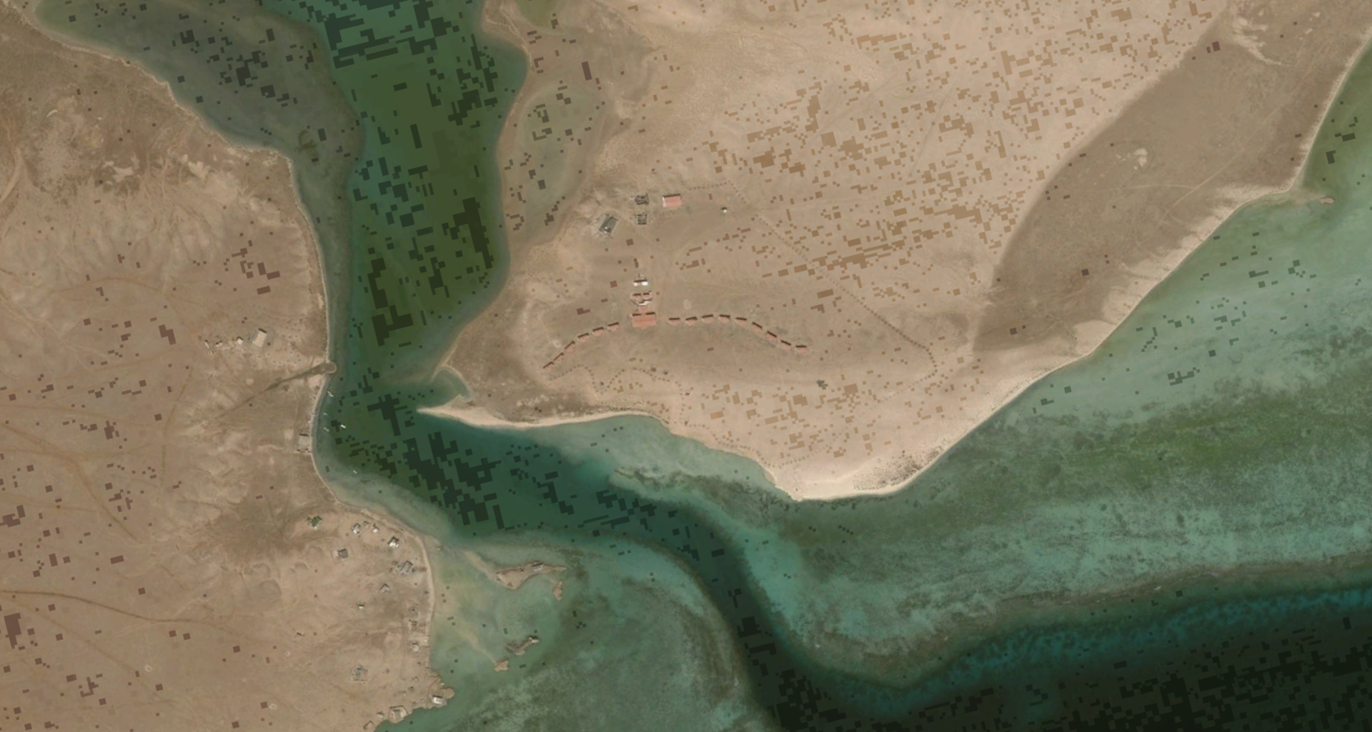 A satellite image of where the Arous Holiday Village was situated in Sudan in the 1980s.