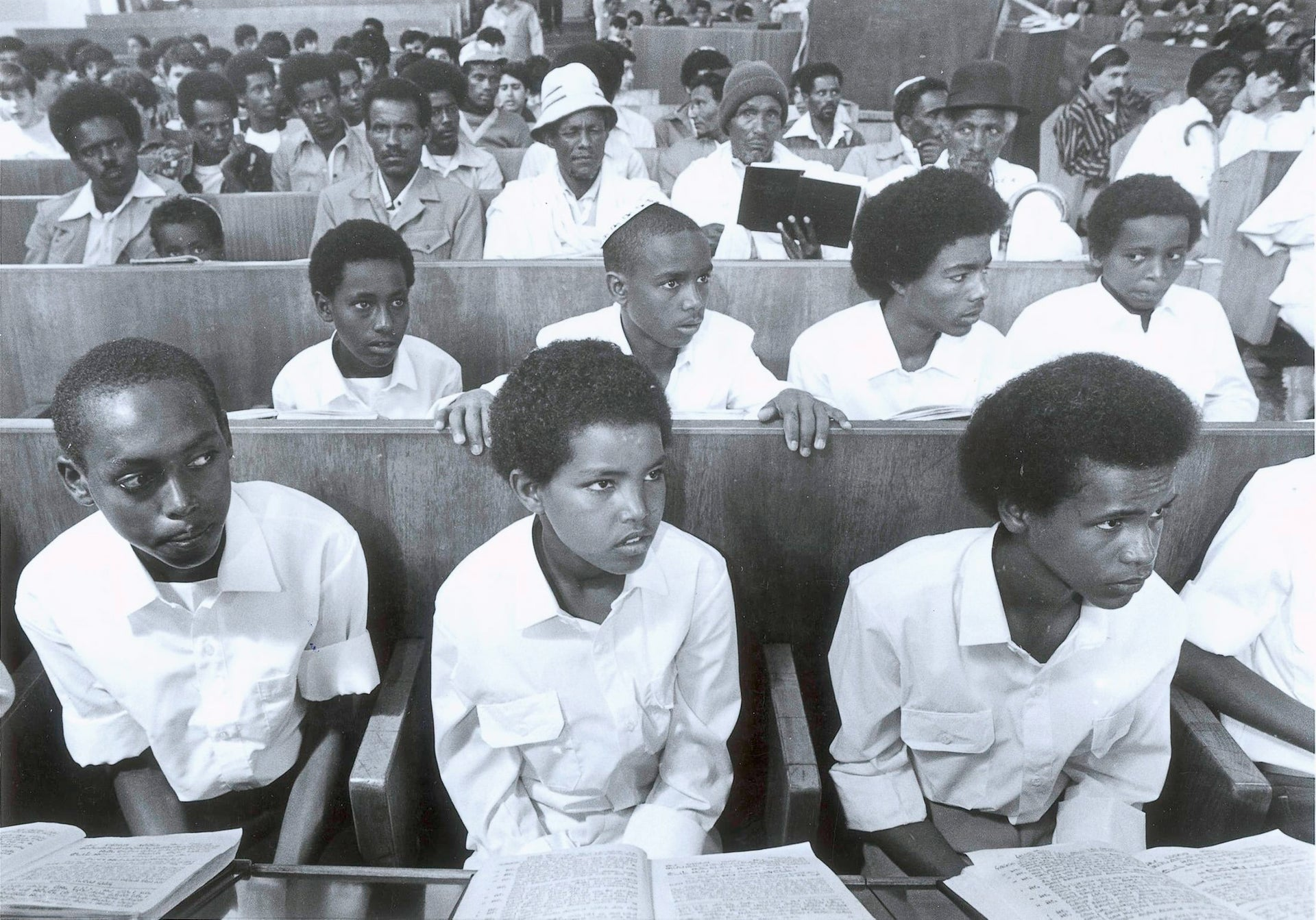 A group of Ethiopian Jews at a ceremony at Yemin Orde Youth Village in 1984. Several thousand members of Beta Israel were smuggled into Israel during Operation Brothers between 1981 and 1984.
