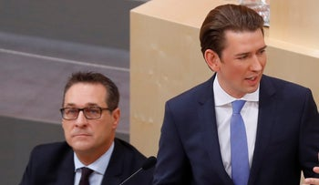 FILE PHOTO: Chancellor Sebastian Kurz of the People's Party delivers a speech next to Vice Chancellor Heinz-Christian Strache of the Freedom Party in parliament in Vienna, Austria, December 20, 2017.