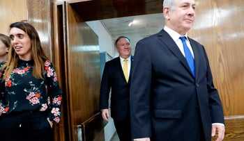 US Secretary of State Mike Pompeo and Israeli Prime Minister Benjamin Netanyahu arrive for a joint press conference at the Ministry of Defence in Tel Aviv on April 29, 2018