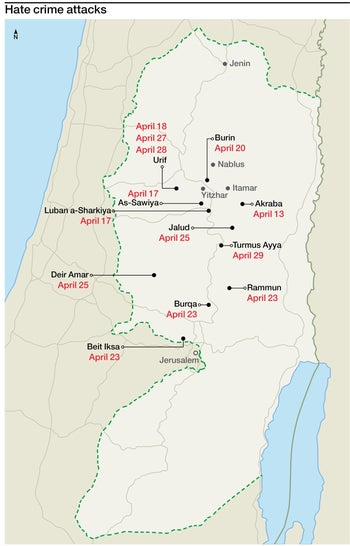 A map of locations in the West Bank where hate crimes have occurred.