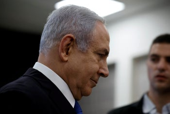 Israeli Prime minister Benjamin Netanyahu leaves the room after a news conference at the Ministry of Defence in Tel Aviv, Israel, April 30, 2018. REUTERS/ Amir Cohen