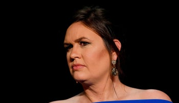 FILE PHOTO: White House Press Secretary Sarah Huckabee Sanders is seen at the White House Correspondents' Association dinner in Washington, U.S., April 28, 2018.