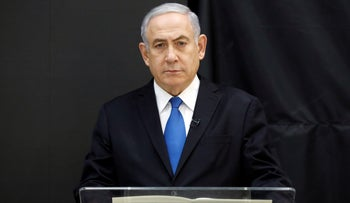 Prime minister Benjamin Netanyahu speaks during a news conference at the Ministry of Defense in Tel Aviv, Israel, April 30, 2018.