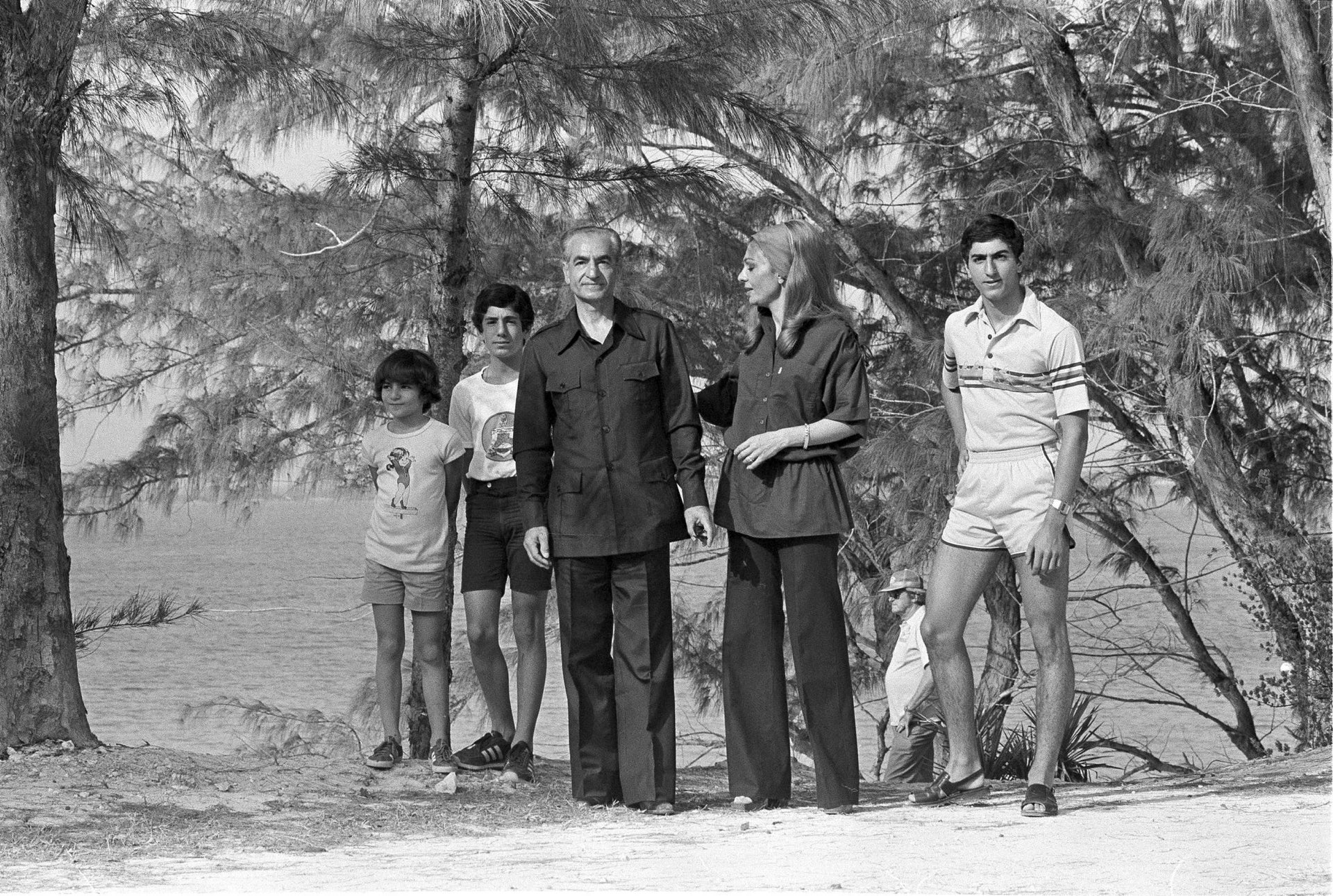 The deposed Shah of Iran,  vacationing with his wife and children in the Bahamas, March 1979.