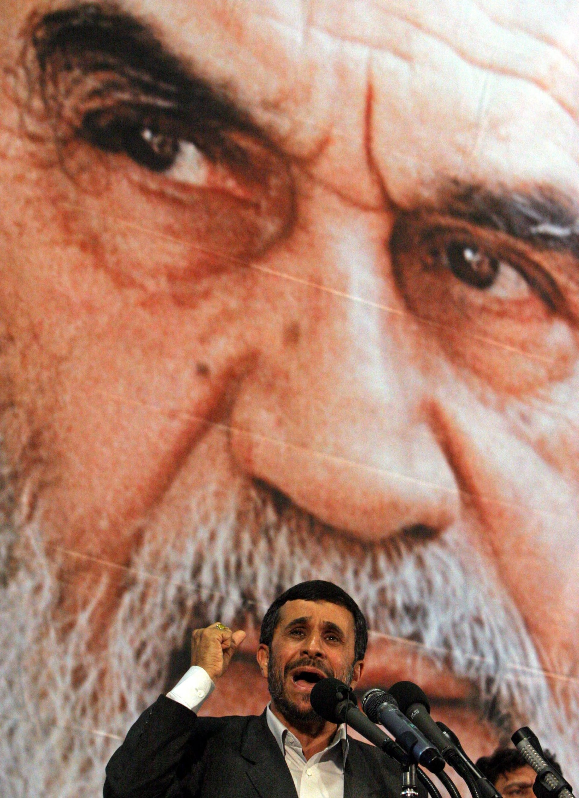 Iranian President Mahmoud Ahmadinejad delivering a speech on the 18th anniversary of the death of the late revolutionary founder Ayatollah Khomeini, in Tehran, June 2007.