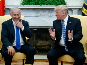 President Donald Trump meets with Israeli Prime Minister Benjamin Netanyahu in the Oval Office of the White House. March 5, 2018.
