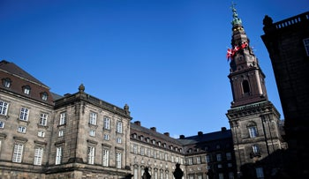 The Danish Parliament - Christiansborg Palace is seen with the flag at half staff after the announcement of Prince Henrik's death, in Copenhagen, February 14, 2018.