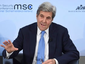 Former U.S. Secretary of State, John Kerry, attends a panel discussion at the International Security Conference in Munich, Germany, Sunday, Feb. 18, 2018.