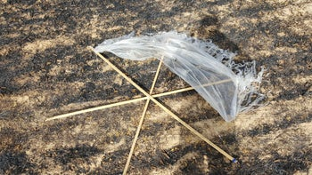 Parts of a kite that was flown from Gaza into Israel, sparking a fire that burned hundreds of dunams on May 2, 2018.