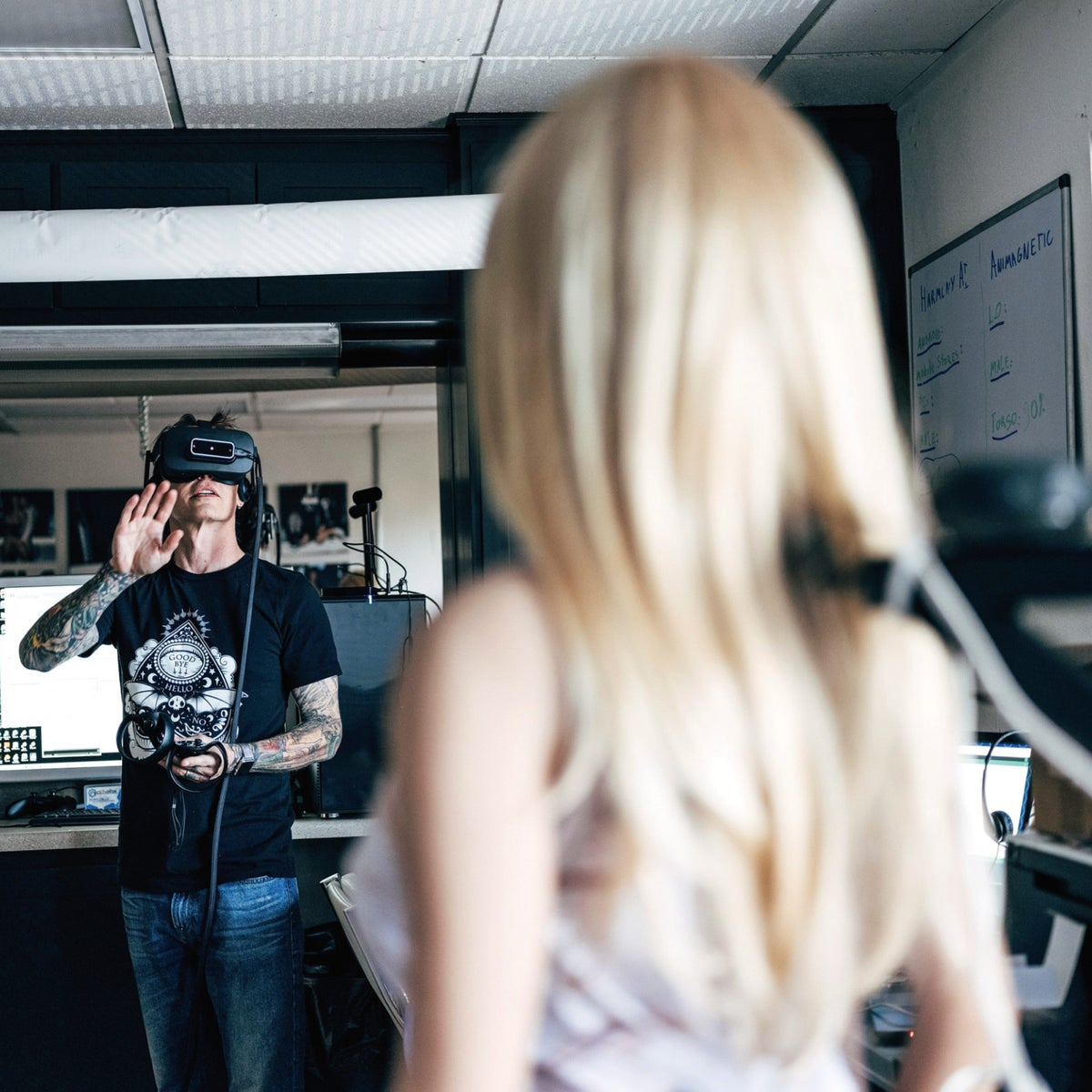 """A """"Realbotix"""" doll in a virtual-reality lab in California."""